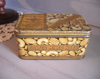 Vintage E F Kemp Tin ... Salted Mixed Nuts 1926 Art Decor Design ~~  rustic Victorian Farm house container