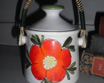 vintage pottery Sugar Dish With handle ~ Orange poppy flower ~ orange green cream BOHO
