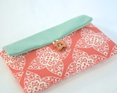 iPhone 6S Sleeve, iPhone 6S Plus Case, iPhone 6+ Sleeve, iPhone Pouch, Custom size Padded with Foam, Fabric iPhone Cover - Coral Damask