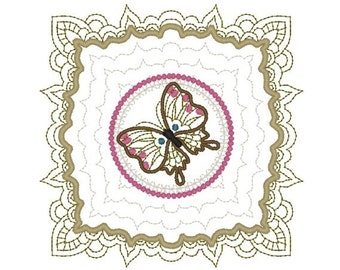 Machine Embroidery Design- Butterfly 08-Quilt Block-3 sizes included!
