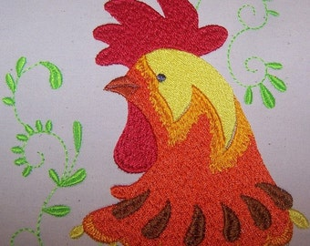 Machine Embroidery Design- Rooster Profile #01 with 3 sizes Included!