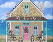 Seashell Sally's Cottage Folk Art Print