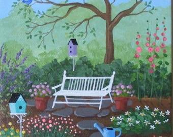 Mom's Garden Folk Art Print