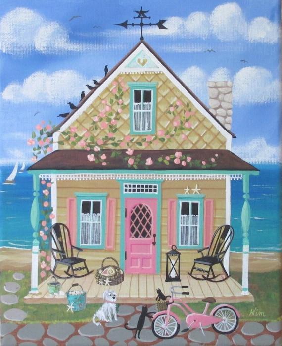 Cottage Folk Art Print de coquillage Sally