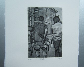 City II (Original Collagraph Hand Pulled Artist Mini Print)