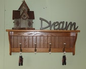 """Coat Rack Wall Shelf Solid Oak 36"""" with Brass and Porcelain 8"""" deep"""