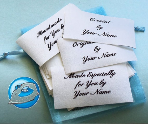 Qty 15 - 1 1/2 x 2 1/2 Inch Iron On Cotton Custom Clothing Fabric Labels