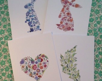 Set of four floral greeting cards