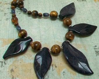 Blue Goldstone Leaf and Tiger Eye Sterling Silver Necklace Earring Set, Unusual Gemstone Necklace