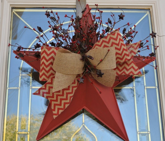 "18"" Americana Patriotic Rustic Red Star Pocket with Burlap Chevron ribbon and Star berry picks,Metal Star Pocket,Star Pocket Floral"