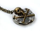 Steampunk Skull n Cross Bones Brass Necklace
