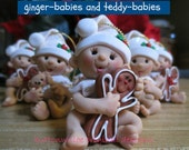 Gingerbread or Teddy Bear Personalized Baby Ornament personalized on hatband with gift box