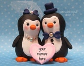 WEDDING CAKE TOPPER, Penguin Personalized  Bride Groom Cake Topper Animal Cake Topper Penguin Cake Topper Wedding Decor