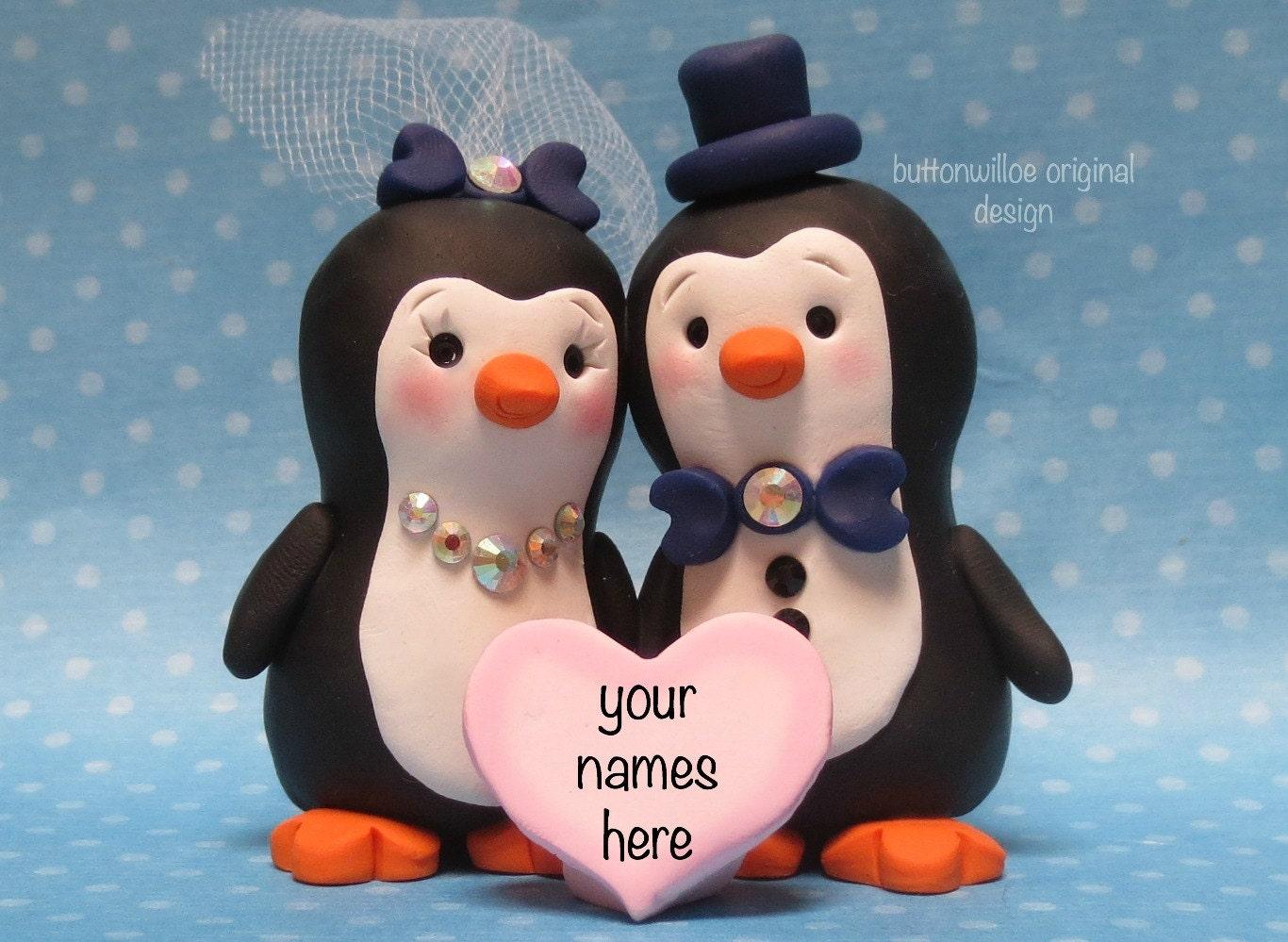WEDDING CAKE TOPPER Penguin Personalized Bride Groom Cake