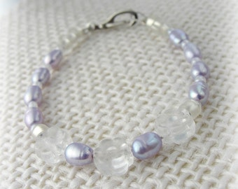 Princess Jewelry - Daisies and Lilac Freshwater Pearl - Baby Bracelet