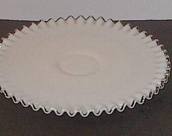 Low Pedestal Silver Crest Milkglass Cake Plate