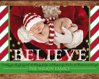 Photo Picture Christmas Holiday Card Believe Candy Cane Stripe - Digital File