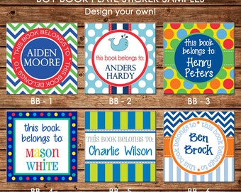 24 Square Personalized Boy Book Plates Bookplate Stickers Labels - Choose ONE DESIGN