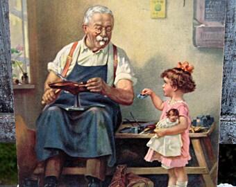 Vintage print, Hy Hintermeister, rare print, shoe cobbler print, little girl, adorable early Swiss artist, Hintermeister print, unframed