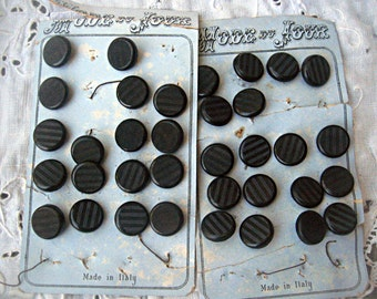 Vintage button cards from Italy, vintage sewing supplies, sewing notions, seamstress supply, black button cards, black Italian buttons
