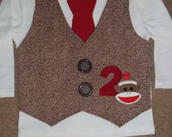 Sock Monkey Vest and Tie Shirt