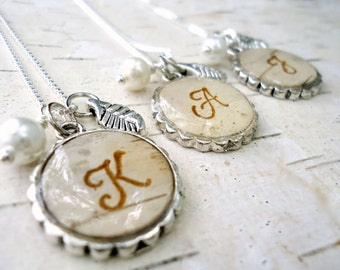 Personalized Bridesmaids Gifts - Birch Bark Wedding Bridesmaids Necklaces - Rustic Initial Monogram Necklace - Silver Birch Bark Jewelry