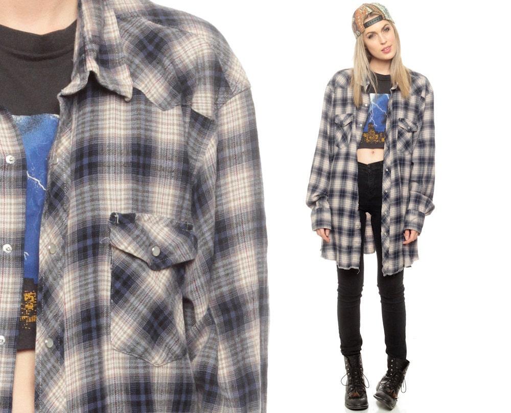 Oversized Flannel Shirt 80s Plaid Shirt Pearl Snap Lumberjack