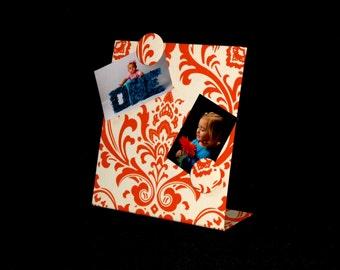 "FABRIC MAGNET BOARD - Tangerine Damask Freestanding Desktop (11"" x 12"")"