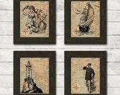 Black Nautical Prints on Aged Map Background - Set of 4 8x10 Instant Digital Download Prints - Captain, Lighthouse, Mermaid, Ship - Set #1