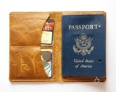 Leather Passport Wallet in Distressed Honey