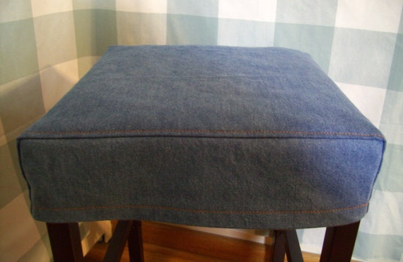 Denim Square Barstool Slipcover Washable Bar Stool Covers