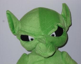 Halloween Alien Green Plush toy mean evil looking