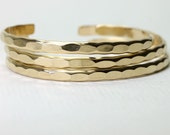 3 Wide Ophelia cuffs, yellow gold fill handmade custom stacking cuff with free US shipping