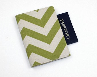 Chevron Passport Cover with Velcro Closure - Aqua Blue, Olive Green, Navy Blue, Gold, Red Fabric
