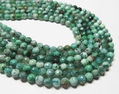 "7"" Gemstone STRAND - Agate Beads - 6mm Disco Faceted Rounds - Shades of Forest, Emerald, and Teal Green (7"" strand - 29 beads) - str826"