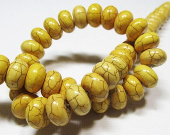 LOOSE Gemstone Beads - Magnesite Beads - 7x12mm Rondelles - Yellow (6 beads) - gem952