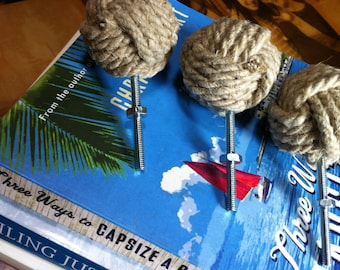 Nautical Rope Doorknobs, 8 Rope Drawer Pulls, Drawer Pulls and Doorknobs in Hemp Rope