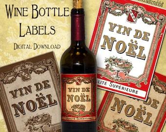Christmas Wine Bottle Labels Tags Digital Download Printable DIY Vintage Style Clip Art Collage Sheet