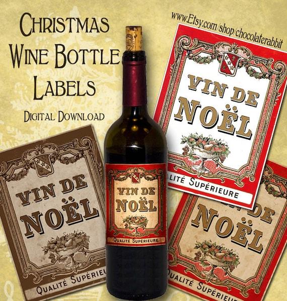 Printable Wine Bottle Labels: Christmas Wine Bottle Labels Tags Digital Download Printable