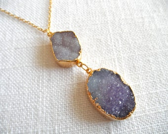 Purple druzy necklace - ombre purple druzy - gold necklace - purple necklace - D R U Z Y 247