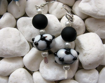 Black and White Polka Dot Lampwork Bead Earrings Silver