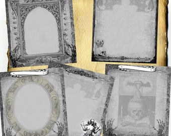 Momento Mori Digital 5 Page Set - Book of Shadows, Grimoire, Halloween Scrapbook, Spells