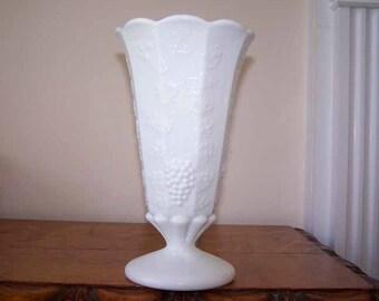 White Milkglass Vase, Grapes Leaves Vines, 9 Panel Vase, Vineyard Theme, Wedding Decor, Flower Vase, Milk Glass Vase, Footed Vase, Trumpet