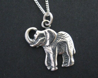 Sterling Elephant Necklace, Elephant Jewelry, Good Luck Elephant, Sterling Silver Jewelry, Elephant Pendant, Good Luck Jewelry