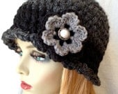 Crochet Beanie Cloche Womens Hat, Dark Charcoal Gray, Black, Wool Blend, Warm, Winter, Cancer Hat, Chunky, Birthday Gifts for Her JE818B2