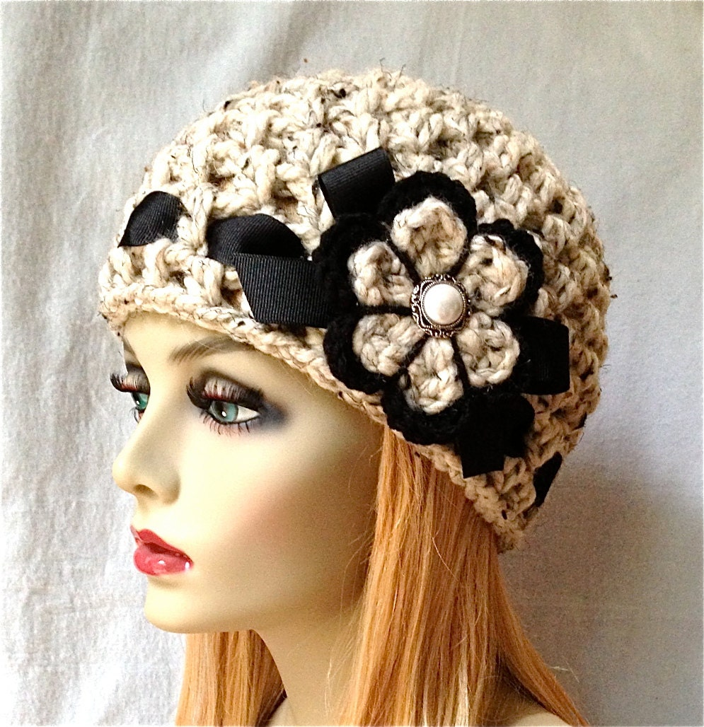 sale crochet womens hat beanie oatmeal soft chunky