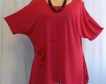 Coco and Juan, Lagenlook,  Women's Plus Size Top, Cold Shoulde,r Cotton Knit,  Angled Tunic Top, Watermelon Red, One Size Bust  to 58 inches