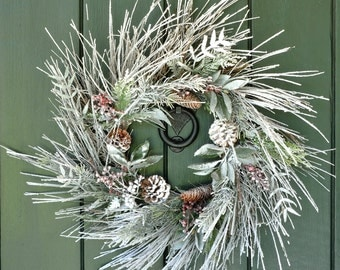 Winter Whisper - Snowy Pine, Cone and Berry Winter Wreath, Christmas Wreath, Winter Wreath, Christmas, Holiday Wreath, Holiday Decor, Winter