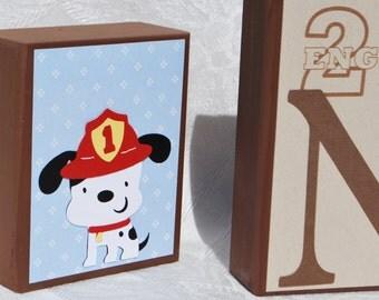 Engine 27 . Fireman Personalized Blocks . Wood Letters . Noah