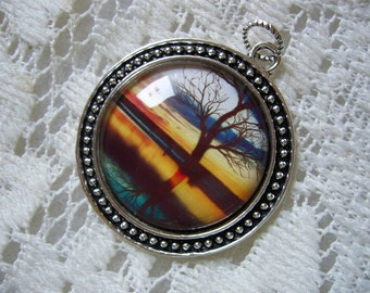 Teal Reflections Tree Pendant Free Shipping in USA